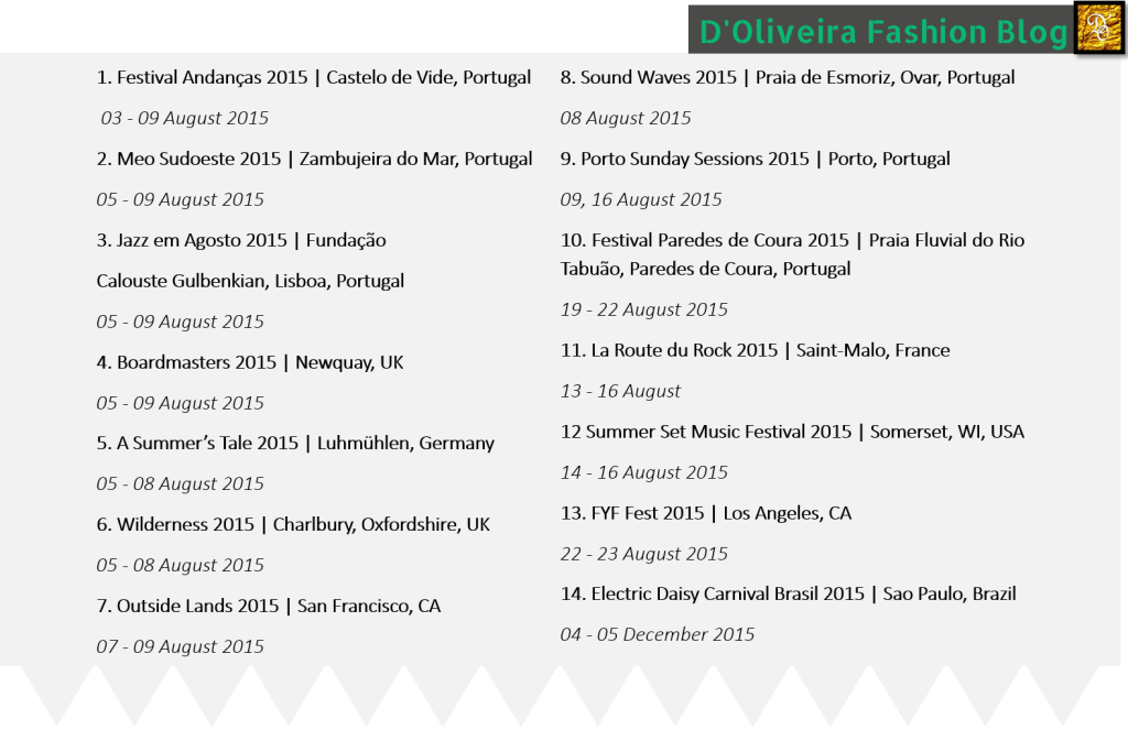 Calendar | Summer Festivals Around of the World | 2015