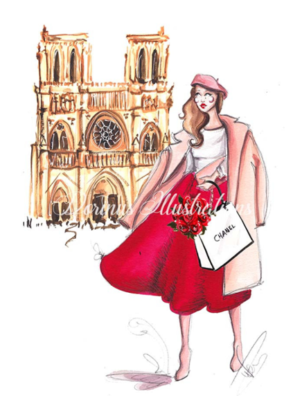 Illustration, Paris, Fashion, Notre-Dame Cathedral Paris, a fashionable woman on the front of the cathedral.